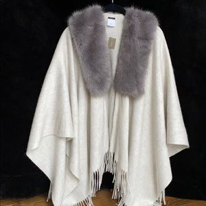 NWT J. Crew shawl with fringe and faux fur collar.